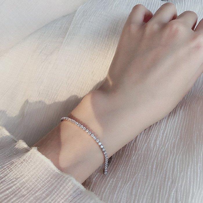 韓國Baby~炒雞好看!韓版簡約氣質鑲滿鉆石單圈鋯石手鍊圓珠送女友生日禮物