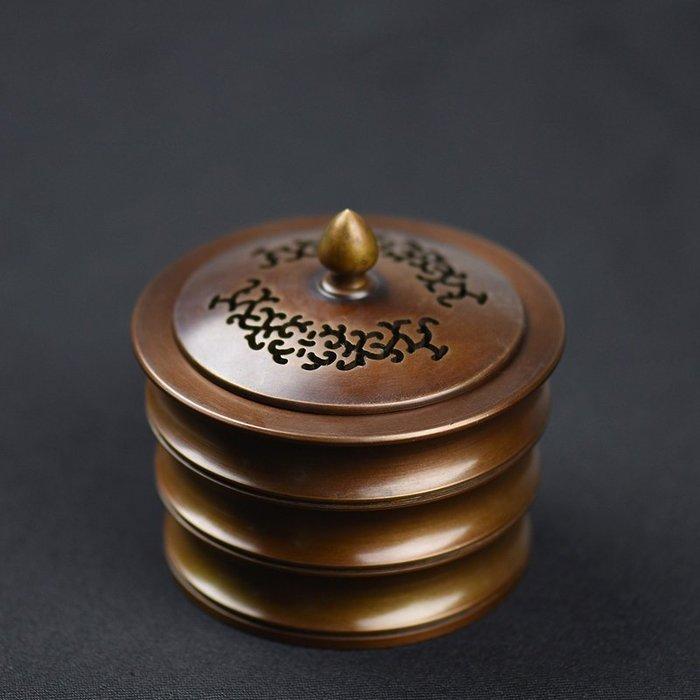 竹節銅香爐 仿古家用香薰爐 檀香盤香爐茶道清倉熏香爐