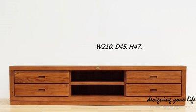 【DYL】柚木實木7尺四抽長櫃、電視櫃、矮櫃(全館一律免運費)126