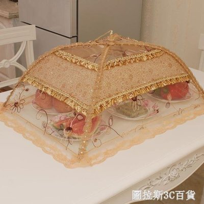 ZIHOPE 蓋菜罩折疊飯桌罩食物罩防蒼蠅罩長方形剩菜碗罩菜傘臺罩大號圓形ZI812