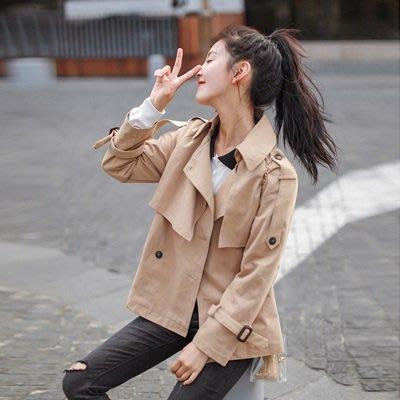 風衣 外套 短款大衣-純色寬鬆雙排扣休閒女外套73ue10[獨家進口][米蘭精品]