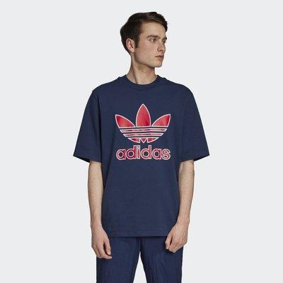 美國購入🇺🇸 Adidas 愛迪達 original oversize 大logo 短袖上衣 短T 藍 M L XL
