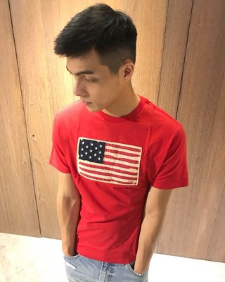 美國百分百【Ralph Lauren】T恤 RL 短袖 T-shirt 上衣 Polo 國旗 男衣 棉T 紅色 C910