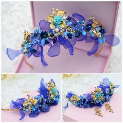 海洋新娘秘書飾品  款頭飾耳環套組
