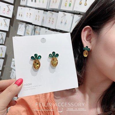 珠寶首飾正品~耳釘女2021新款潮韓國代購設計感耳環小眾超仙糖果色櫻桃菠蘿耳飾