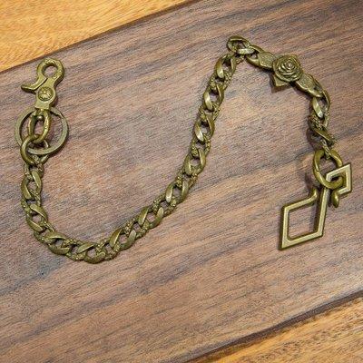 造夢師 手工製作  阿美咔嘰 復古 養牛 金屬財布鏈 純黃銅花紋腰鍊