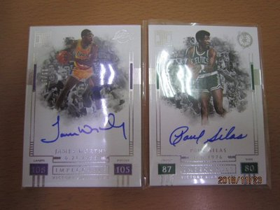 網拍讀賣~James Worthy/ Paul Silas~白國寶限量簽名卡/99~卡面簽~普特卡~共2張~1500元~