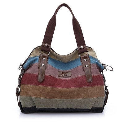 肩背包帆布手提包-大容量撞色條紋復古女包包73wa25[獨家進口][米蘭精品]
