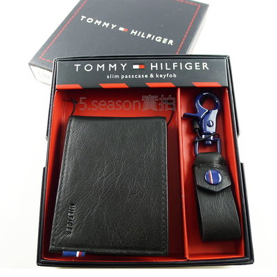 【TOMMY專櫃正品】美國 TOMMY HILIFGER 專櫃購入 三色布標短夾+鑰匙扣禮盒組