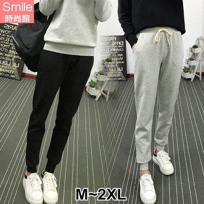 【V2722】SMILE-百搭休閒.純色抽繩鬆緊腰休閒長褲
