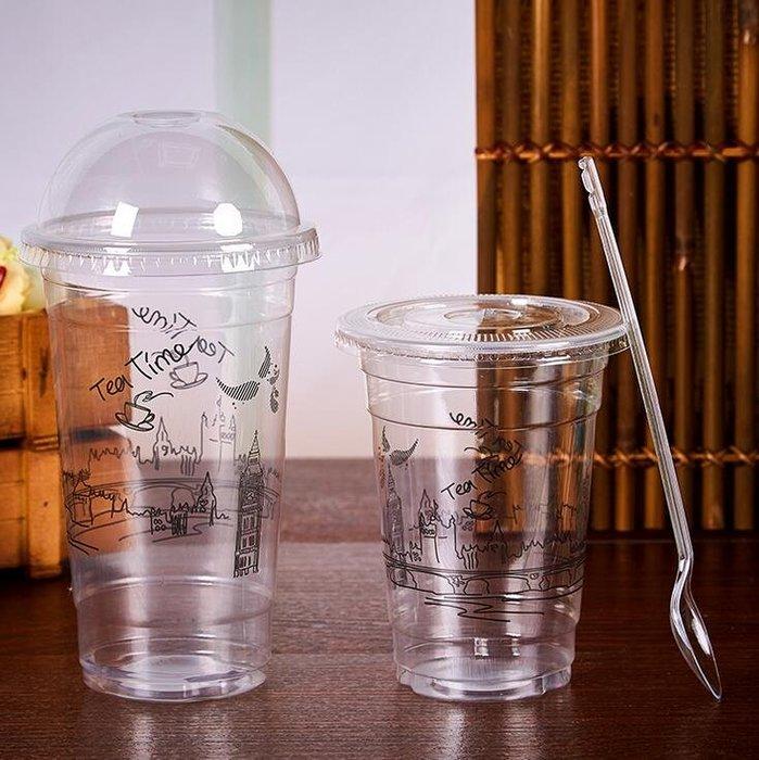 888利是鋪-95口徑奶茶杯一次性飲料杯帶蓋塑膠杯整箱透明光杯1000只裝打包杯#奶茶杯