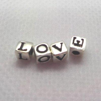 琥珀貓銀飾DIY【925純銀材料配件】造型方珠~A1261~LOVE~一組