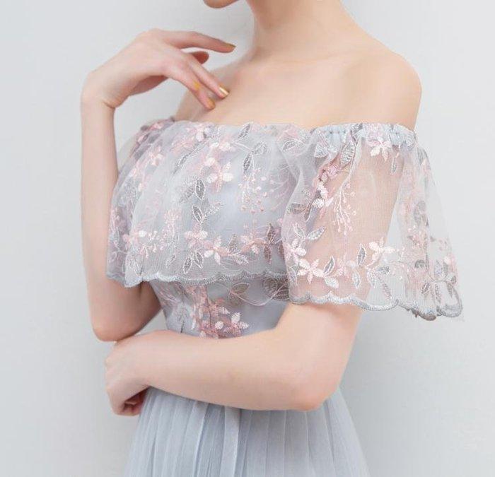 2019新款夏韓版女長款灰色伴娘服復古晚禮服姐妹裙顯瘦畢業結婚YSY