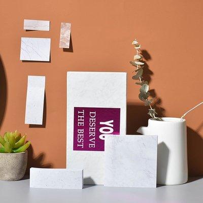 手賬用品 膠紙 便利貼 大理石紋便利貼套裝組合多功能盒裝學生用小清新韓國可愛便簽北歐