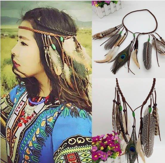 .°。.☆小婷來福*.。°H364波西米亞印地安民族風嘻皮流蘇孔雀羽毛麻花辮髮飾髮帶髮圈髮箍頭飾,售價180元