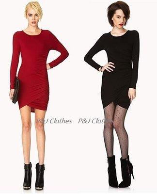 P&J Clothes(現貨在台)美國正品Forever21好萊塢時尚性感簡約合身花苞裙擺洋裝黑色PARTY禮服.可刷卡