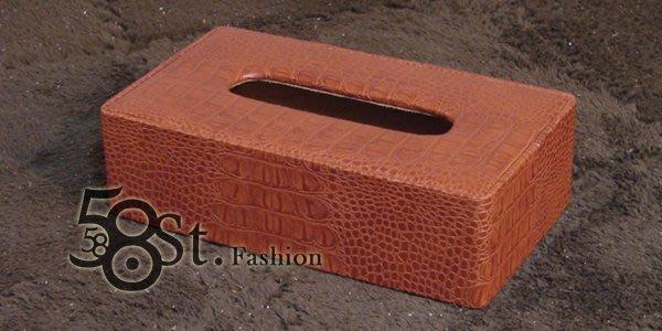 【58街】設計款式「鱷魚皮紋路皮革製品面紙盒、紙巾盒」。AF-081