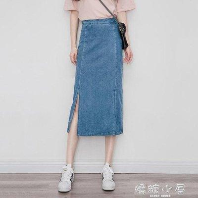韓版新款chic港味中長款復古牛仔裙女顯瘦學生半身裙高腰