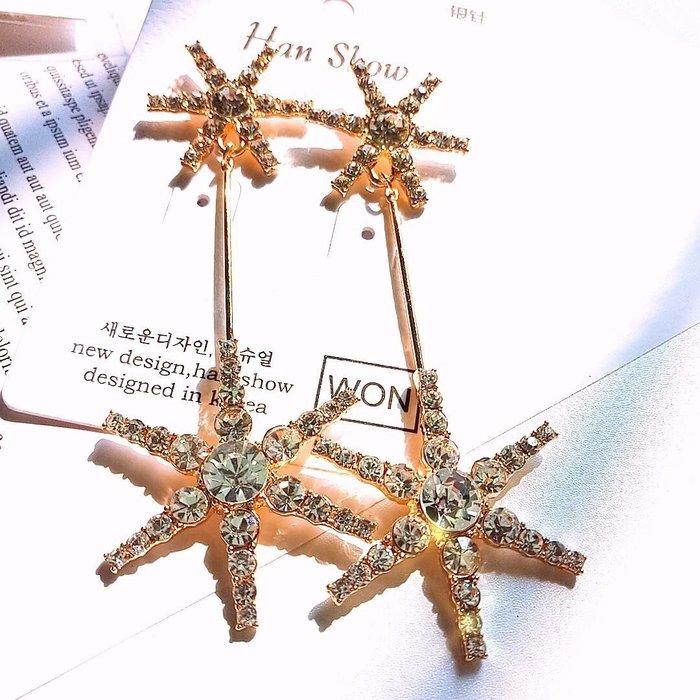 【爆款】雪花金色星星性感S925純銀耳針長款流蘇時尚氣質耳釘歐美風範