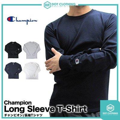 DOT聚點 Champion 冠軍 CC8C 美規 5.2盎司薄款 素T 長袖 袖口刺繡 長T 黑白 灰 深藍 男女皆可