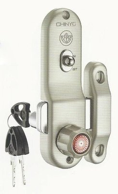 青葉牌鋁門鎖 HCS005a 757三代鋁門鈎鎖 橫拉門用 1200型 鎖管長38mm 排片鑰匙