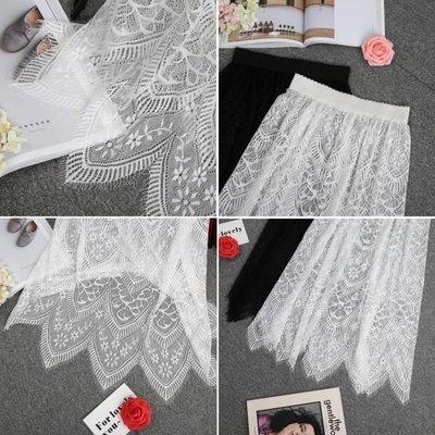 襯裙 秋冬百搭黑色透視網紗半身裙單層罩裙中長裙透明內搭蕾絲打底裙XKL1265