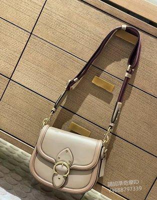 COACH 0749 新款女士Beat Saddle馬鞍包 奶白色翻蓋C字扣單肩斜揹包 附購證