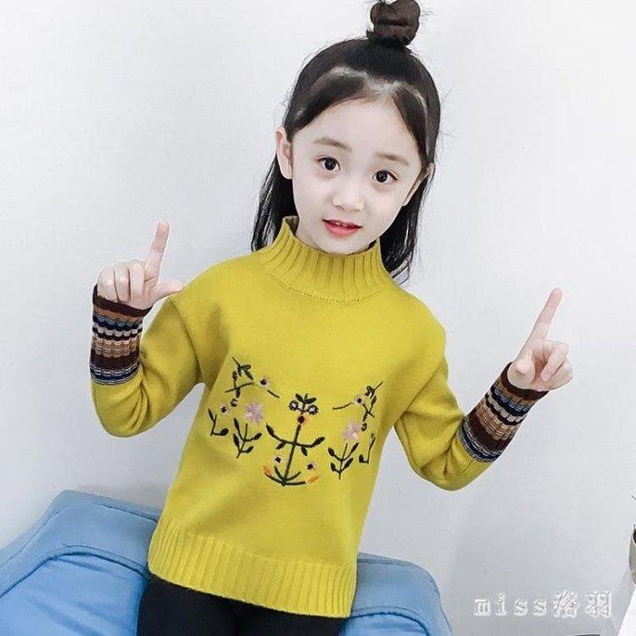 大碼女童打底衫 加絨加厚套頭毛衣秋冬裝新款韓版兒童高領針織衫中大童裝 js14079