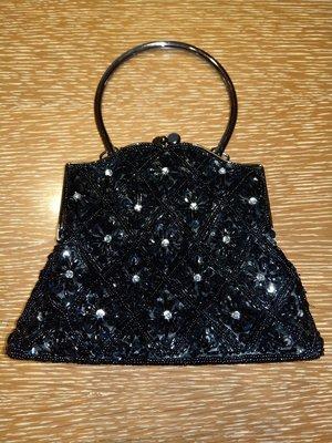 黑色格菱紋串珠晚宴包