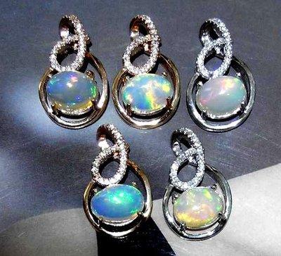 ((瑪奇亞朵的珠寶世界))超美豪華款 天然蛋白石鑲崁 墬子 送禮好用大器 精緻