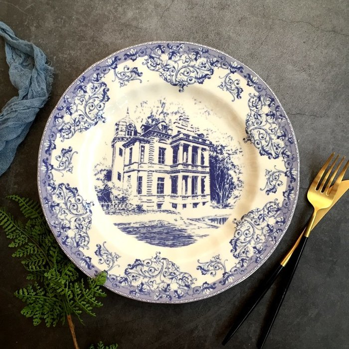 歐式皇家城堡平盤正餐盤 餐用擺盤家飾道具(10吋) _☆找好物FINDGOODS ☆