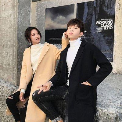 【蘑菇小隊】2019春季新款毛呢大衣一男一女中長款韓版情侶風衣情侶裝冬裝外套-MG22560