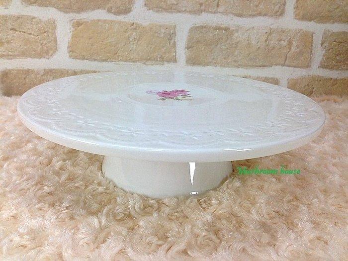 點點蘑菇屋 義大利Easy Life粉紅玫瑰立體蕾絲高腳蛋糕盤 點心盤 陶瓷盤子 水果盤 禮盒裝 現貨