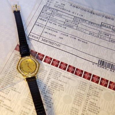 瑞士錶 精品名錶 勞力士大樓購買BUCHERER 寶齊萊女錶蛋白石鑲鑽 超薄經典 二手精品 18000元