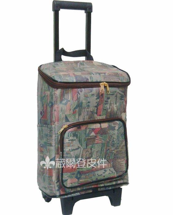 《葳爾登》購物車旅行袋可登機旅行箱購物袋環保買菜車【全防水可折疊】菜藍車29010幾何圖