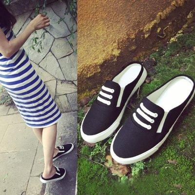 平底包頭涼鞋懶人帆布拖鞋女夏時尚外穿一字拖 AD536