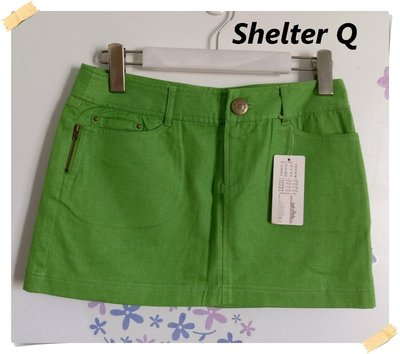 免運促銷。日本Shelter Q(SQ)【全新專櫃商品】蘋果綠 性感迷人款亮蔥拉鍊口袋造型棉料迷你裙/短裙。M號