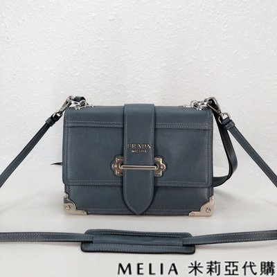 Melia 米莉亞代購 19ss PRADA cahier 單肩斜背包 背帶可拆 麂皮內里 藍色