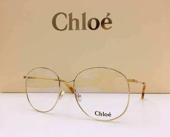 Chloe 新款金色金屬大圓框光學眼鏡 金色細腳 CE2140 717 義大利製 公司貨 2140 優雅的女性新時尚