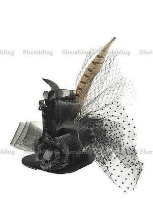 [PROP-H_00390] 手作維多利亞羽毛花朵花邊迷人黑色小禮帽愛麗絲