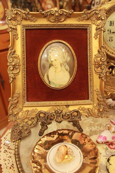 【家與收藏】特價稀有珍藏歐洲古董英國古典浪漫優雅貴族仕女人物肖像掛畫(5)