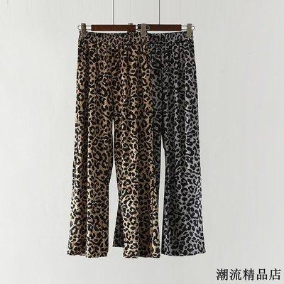 時尚豹紋復古絲絨闊腿褲子潮春夏新款百搭高腰寬松直筒休閑褲