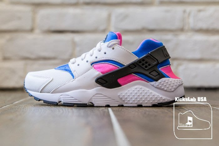 【美國鞋校】現貨 NIKE AIR HUARACHE Run 白武士 白 粉紅 藍 武士鞋 654275-104 女鞋