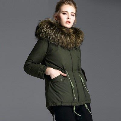 羽絨 外套 連帽夾克-時尚貉子毛領冬季保暖白鴨絨女外套73pj16[獨家進口][米蘭精品]