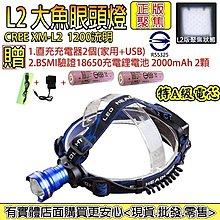 27029-137-興雲網購3店【L2大魚眼頭燈2000mAh配套】CREE XM-L2強光魚眼手電筒 頭燈 工作燈