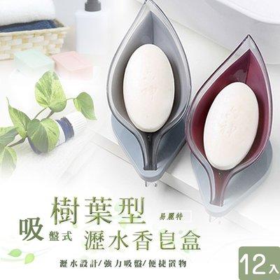 【易麗特】吸盤式樹葉型瀝水香皂盒12入