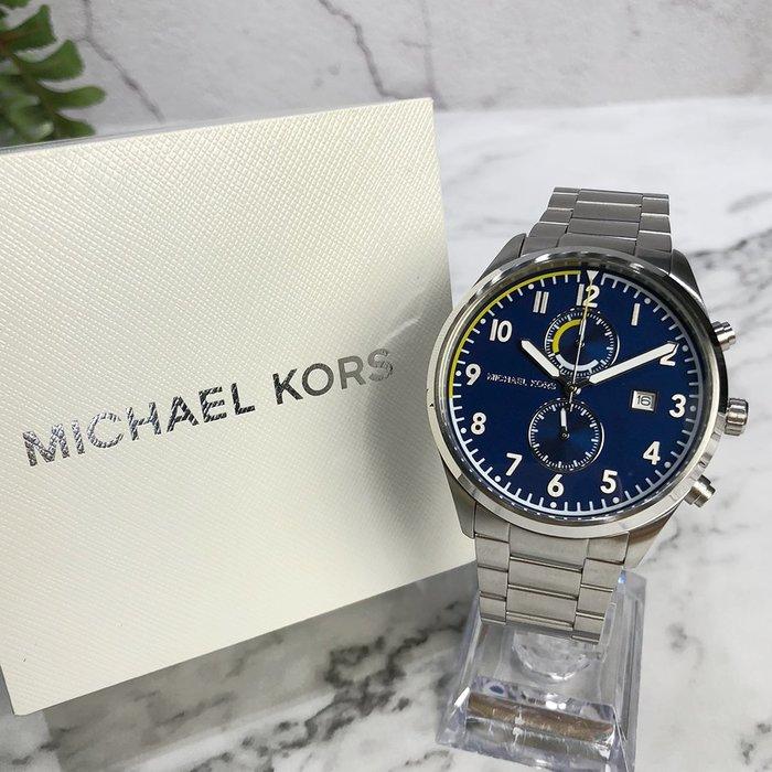 美國百分百【Michael Kors】手錶 MK8574 男錶 MK 不鏽鋼 雙眼 禮盒專櫃配件 藍面 銀色 J036