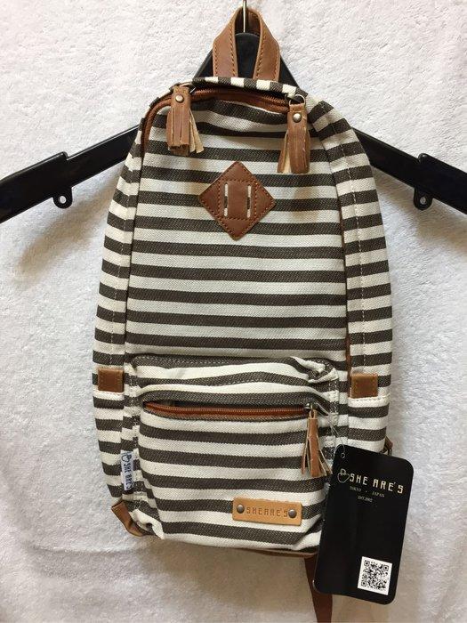 [變身館日本服飾]~Sheares~條紋~肩背包~斜背包~書包~郵差包~托特包~日本購入~全新現品~~出清價