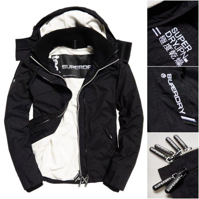 銀色衝浪手 閃銀線條 極度乾燥 Superdry Arctic SD Windcheater 刷毛 風衣 外套 黑白