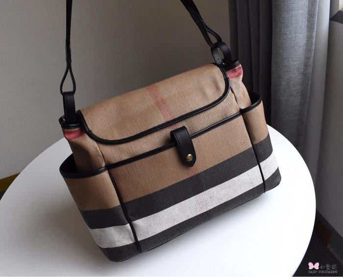 【小黛西歐美代購】Burberry 巴寶莉 2019款 麻布橫條紋 肩背包 歐美時尚  美國outlet代購